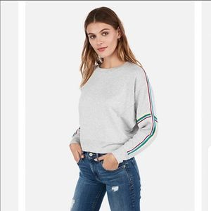 Express One Eleven Varsity Stripe Sweatshirt